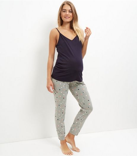 Maternity Navy Spot Print Over Bump Pyjama Set | New Look