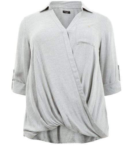 Curves Grey Wrap Front Shirt | New Look