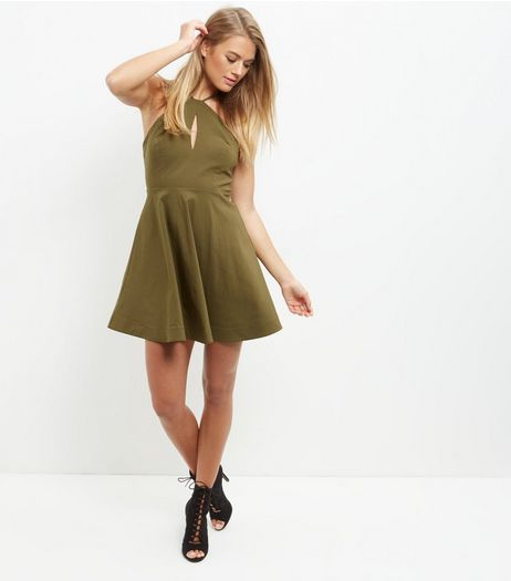 Khaki Strappy Bengaline Skater Dress | New Look