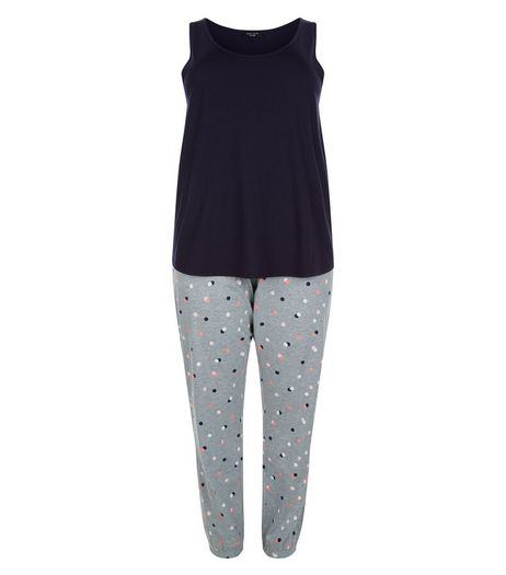 Curves Navy Spot Print Pyjama Set | New Look