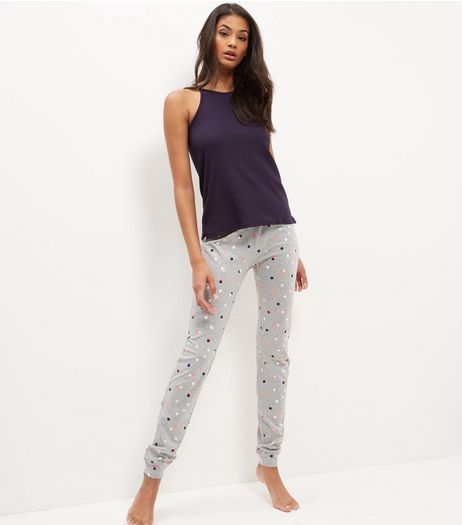 Navy Spot Print High Neck Pyjama Set | New Look