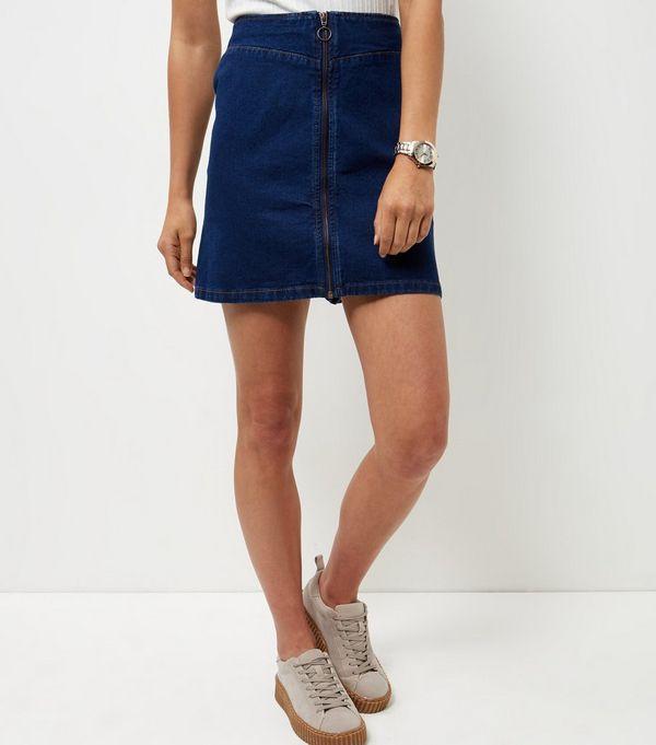 Blue Zip Front Denim Skirt