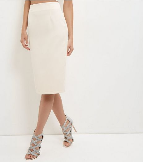 Shell Pink Crepe Midi Skirt  | New Look