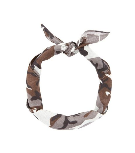 Pale Grey Camo Print Bandana  | New Look