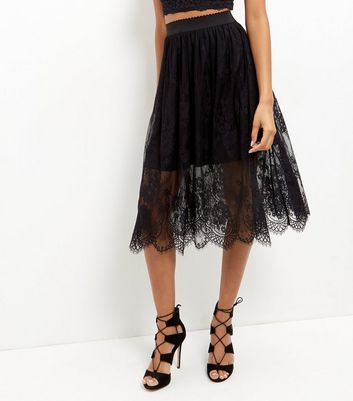 Black Sheer Lace Midi Skirt