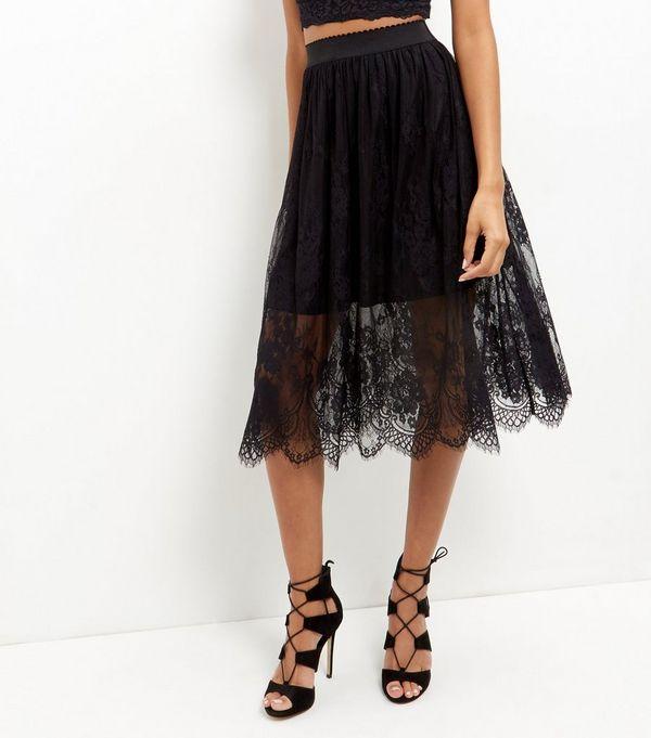 Black Sheer Lace Midi Skirt