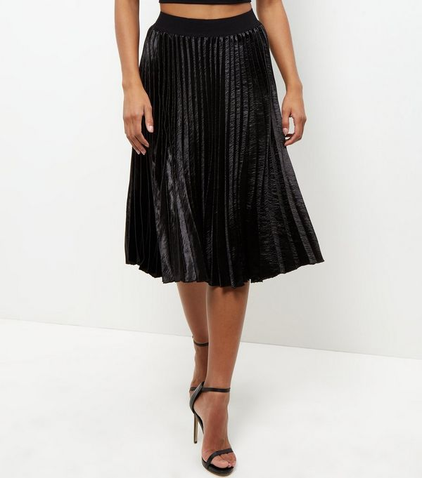 Black Sateen Pleated Midi Skirt