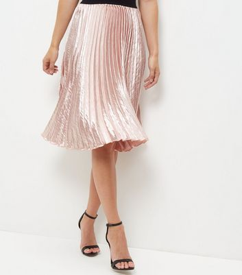Shell Pink Sateen Pleated Midi Skirt