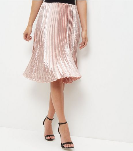 Shell Pink Sateen Pleated Midi Skirt  | New Look
