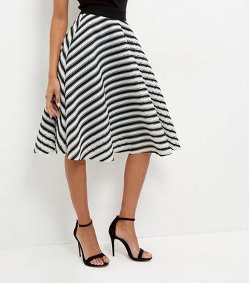 Gonna  donna Monochrome Mesh Stripe Skater Skirt