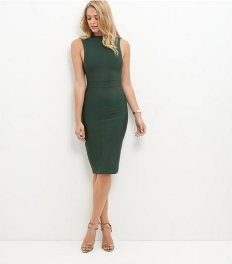 Dark Green Premium Bandage Bodycon Dress | New Look