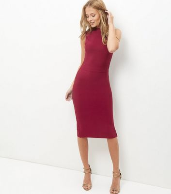 red-high-neck-sleeveless-bodycon-dress