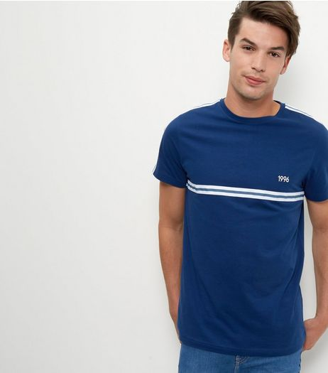 Blue Stripe 1996 Print T-Shirt | New Look