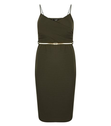 Curves Khaki Wrap Belted Midi Dress | New Look