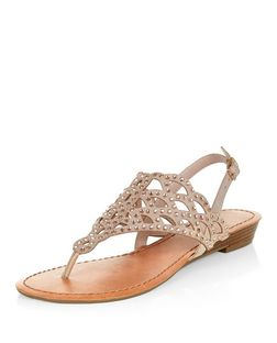 Nude Embellished Laser Cut Out Sandals  | New Look