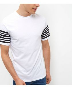 White Stripe Sleeve T-Shirt  | New Look