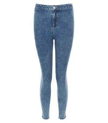 Petite Blue Acid Wash Drop Hem Skinny Jeans
