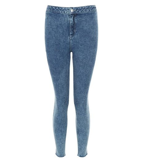 Petite Blue Acid Wash Drop Hem Skinny Jeans | New Look
