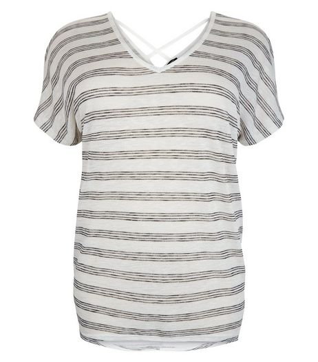 Curves Grey Stripe Cross Back T-Shirt | New Look