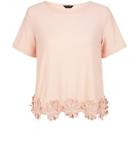 Shell Pink Crochet Floral Trim T-Shirt | New Look