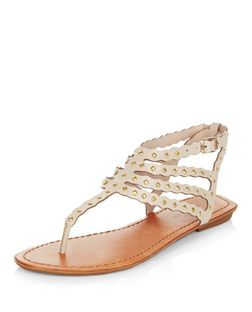 Cream Metal Studded Strappy Sandals  | New Look