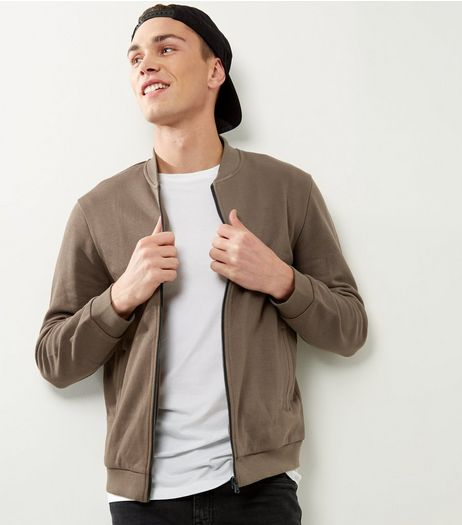 Khaki Jersey Bomber Jacket | New Look