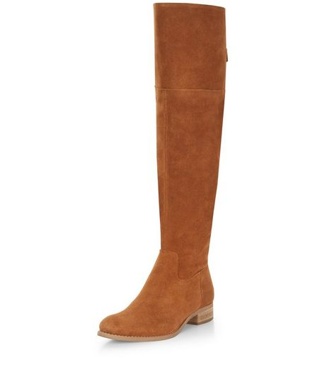 Tan Suede Tie Back Knee High Boots  | New Look