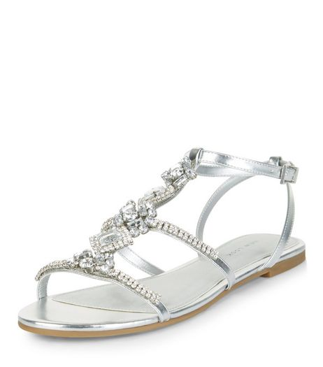 Silver Diamante Embellished Sandals | New Look