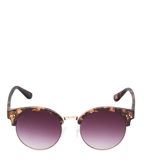 Brown Tortoiseshell Print Round Sunglasses | New Look