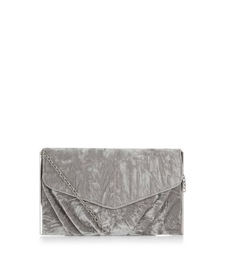 Grey Velvet Gathered Clutch | New Look