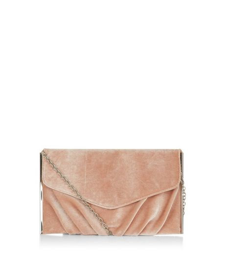Pink Velvet Gathered Clutch  | New Look