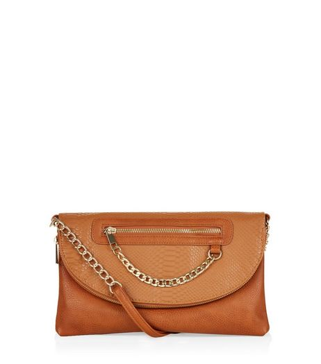 Tan Snakeskin Textured Chain Zip Clutch | New Look