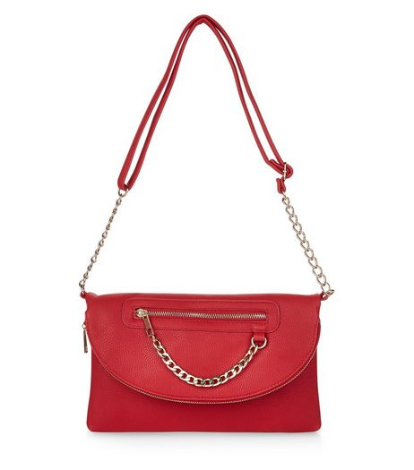 Red Chain Zip Clutch | New Look