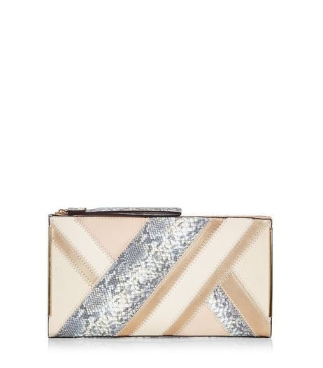 Stone Snakeskin Print Panel Clutch | New Look
