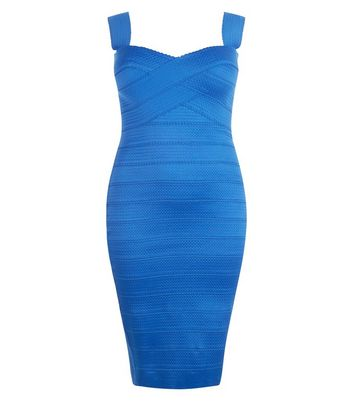 Curves Blue Bandage Bodycon Dress