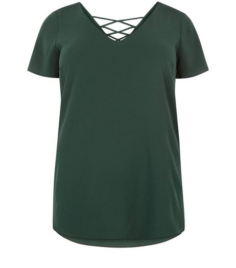 Curves Dark Green Lace Up Back V Neck Top | New Look