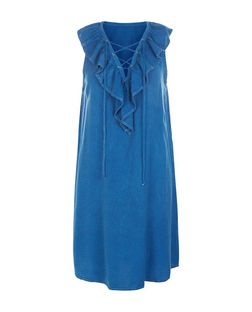 Blue Vanilla Blue Frill Lace Up Denim Dress | New Look
