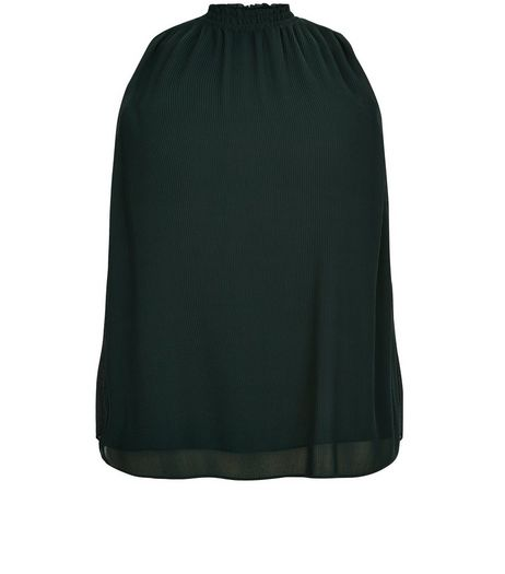 Curves Dark Green High Neck Pleated Top | New Look