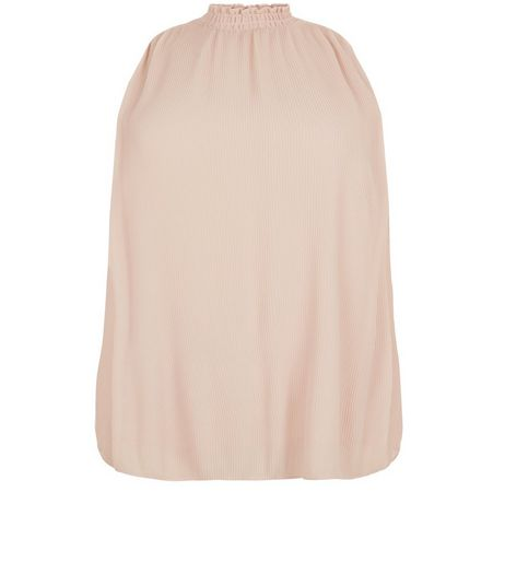 Curves Shell Pink High Neck Pleated Top | New Look