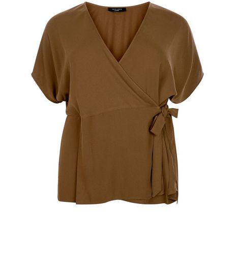 Curves Khaki Tie Side Wrap Top  | New Look