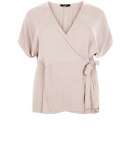 Curves Shell Pink Tie Side Wrap Top | New Look