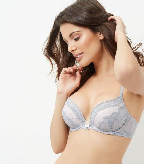 Grey Lace Trim Push Up Bra | New Look