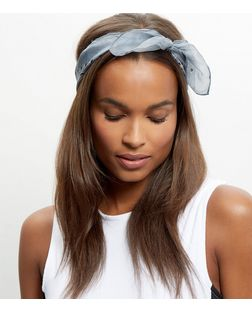 Pale Grey Paisley Print Silk Bandana | New Look