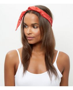 Red Paisley Print Silk Bandana | New Look