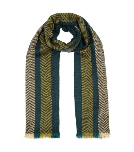 Khaki Stripe Herringbone Fringed Scarf | New Look