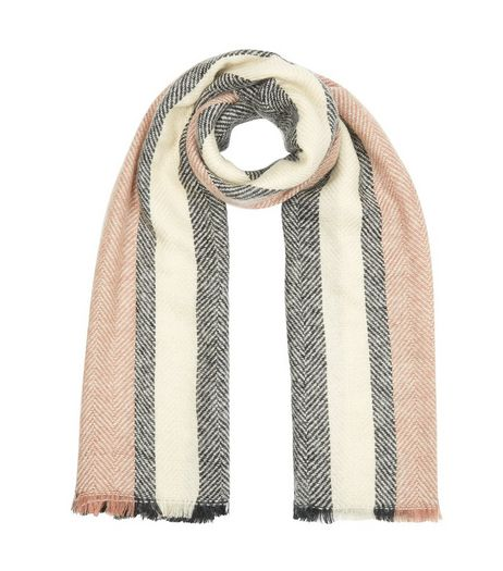 Shell Pink Stripe Herringbone Fringed Scarf | New Look