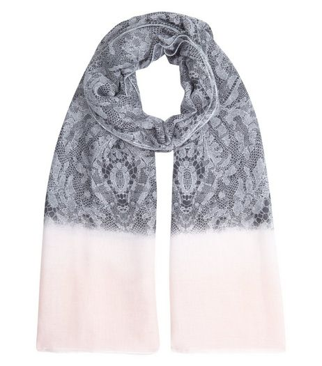Pale Grey Contrast Lace Print Longline Scarf | New Look