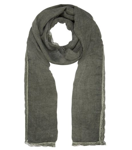 Khaki Lace Trim Longline Scarf | New Look