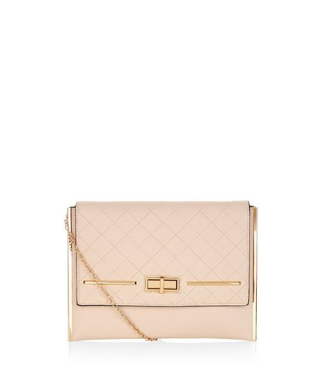 Shell Pink Quilted Clutch | New Look