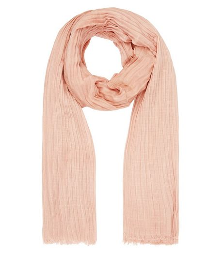 Shell Pink Pleated Longline Scarf | New Look